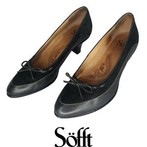 Sofft Black Suede and Leather Kitten Heels Sz 8.5